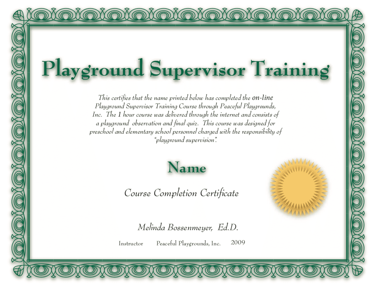 Playground Supervision Certificate