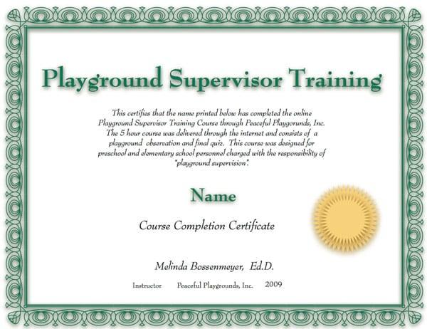 playground supervisor training