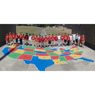 Painting Playground Markings - Large us map stencil