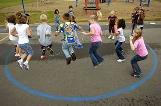 Students join in a structured recess game.