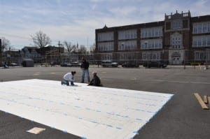 Painting Playground Markings - Giant us map stencil