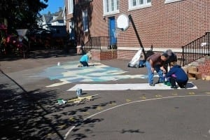 Painting Playground Markings - Us map stencil